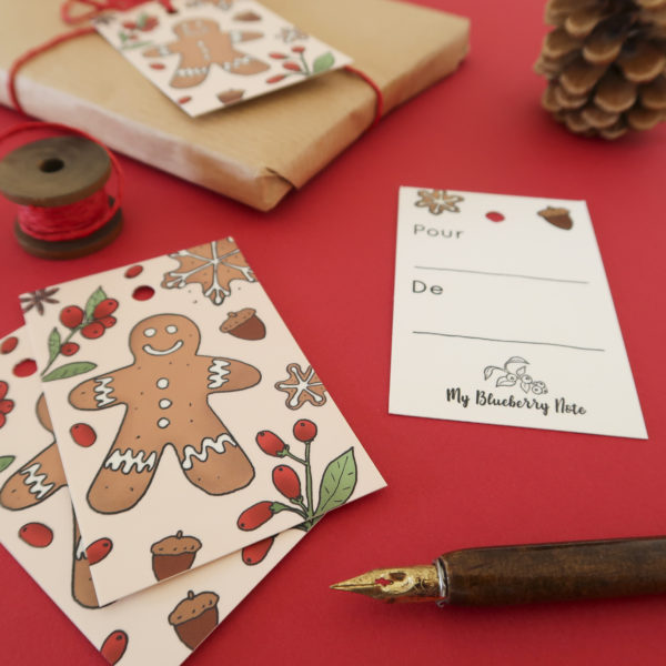 gift tag gingerbread stationery