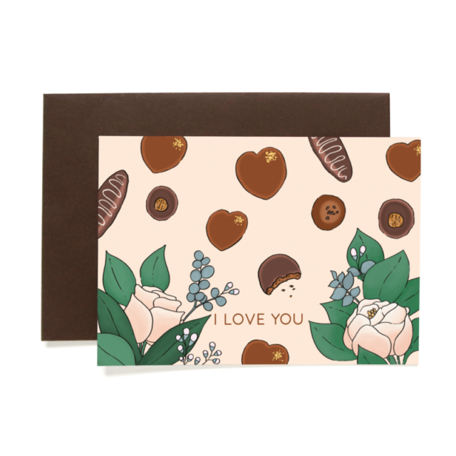 Greetings card Chocolate St Valentin 1