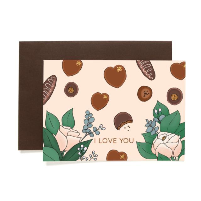 Greetings card Chocolate St Valentin 1