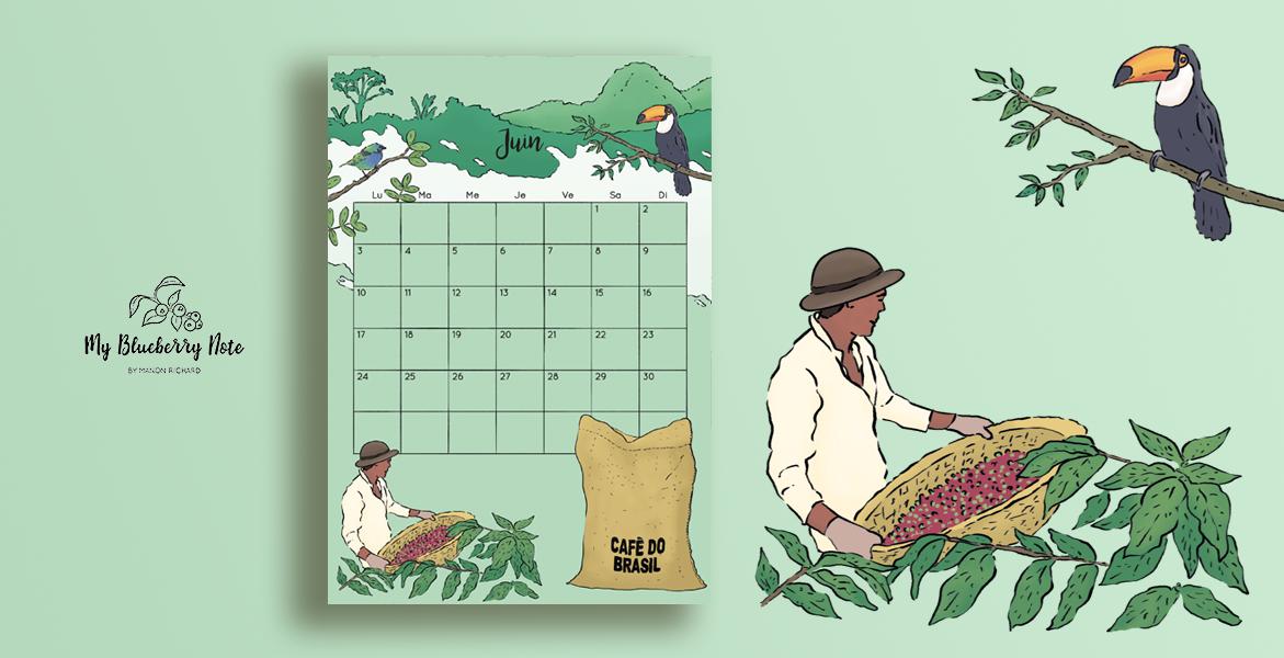Calendar coffee Brasil