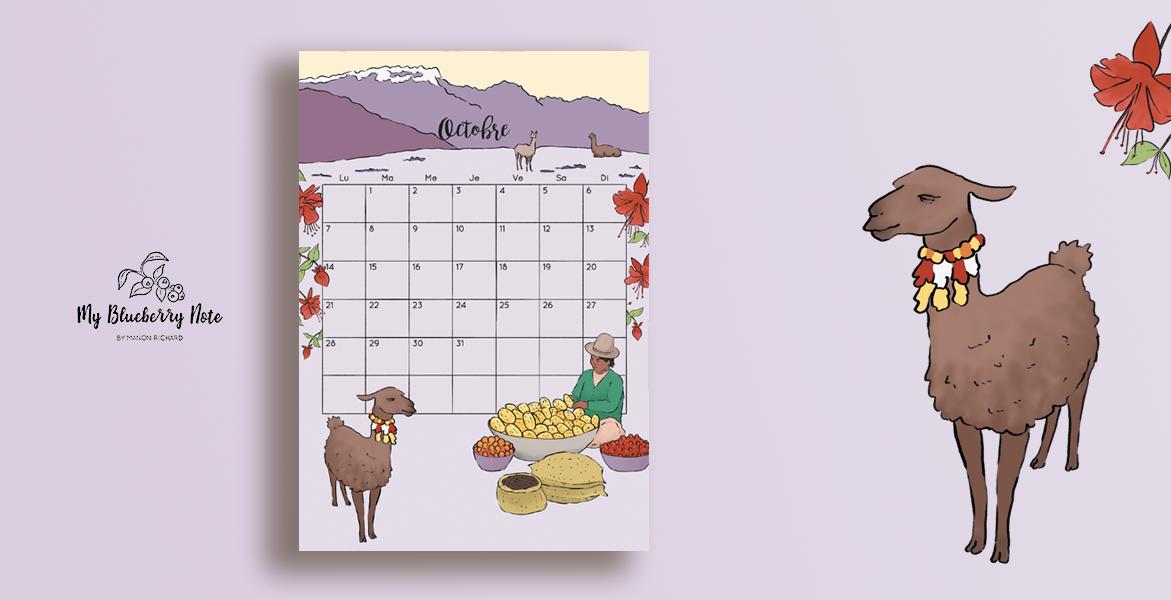 Calendar coffee peru llama