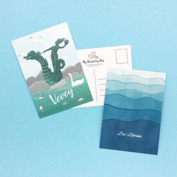 Postcard Vevey lac Léman, Geneva lake