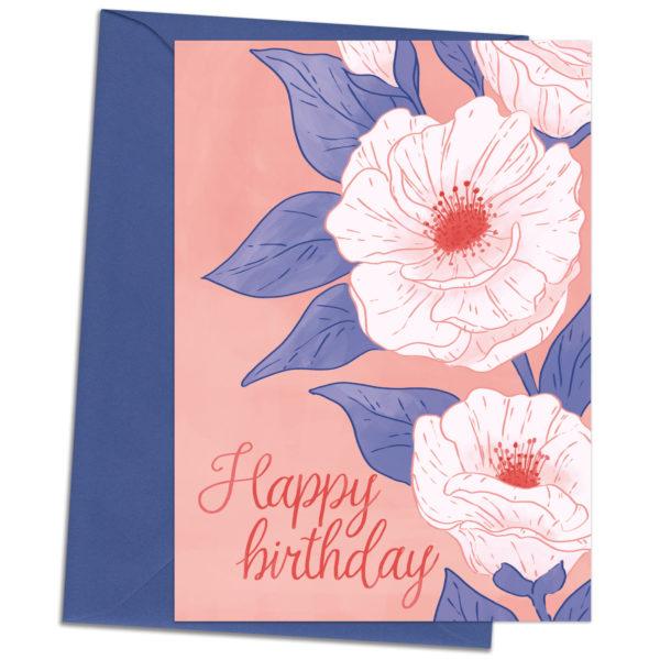 Greetings card Happy birthday flowers