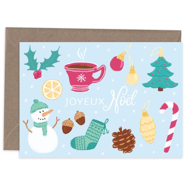 Greetings card Joyeux Noël décorations 1