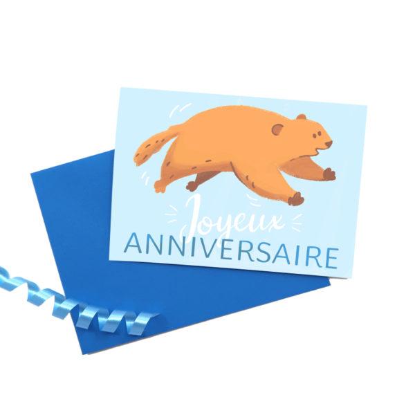 Greetings cards marmotte joyeux anniversaire 1 square