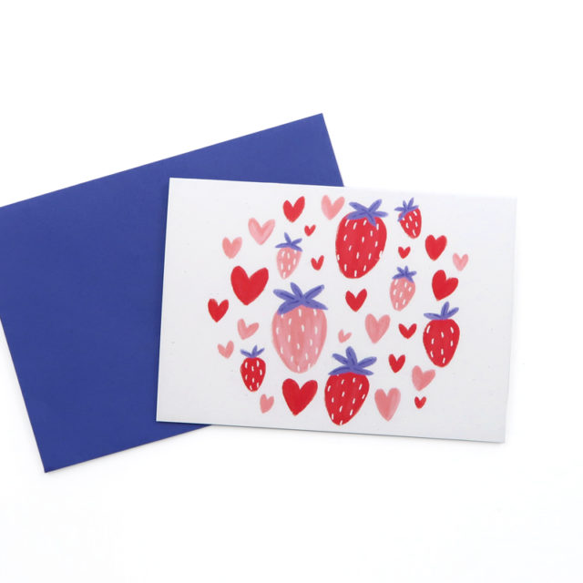 Greetings cards mini coeur fraise 1
