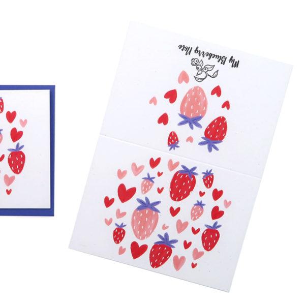 Greetings cards mini coeur fraise 2